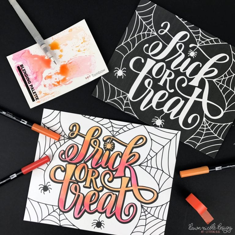 Dawn Nicole Designs Created This Cool Hand Lettered Trick Or Treat And Spider Coloring Page Design