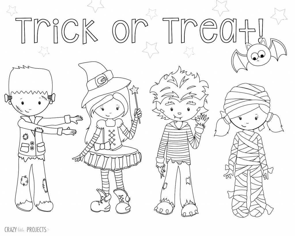 Trick or Treat Halloween Coloring Sheet with Kids in Costume