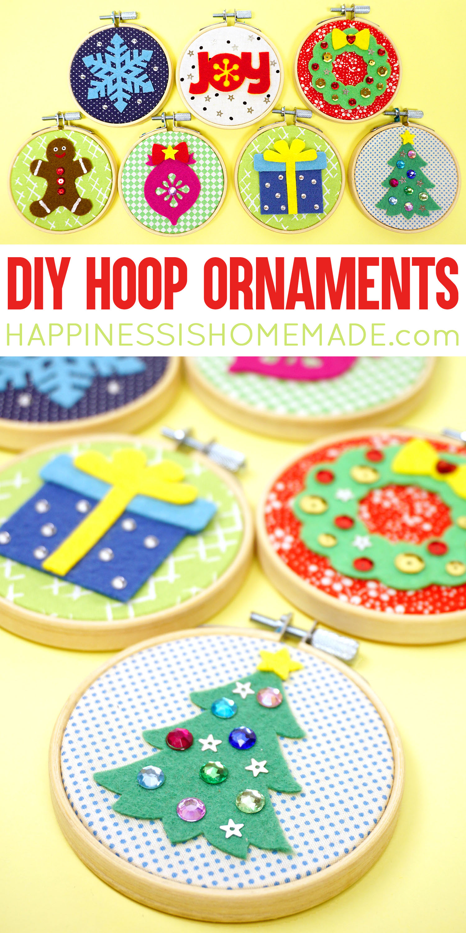 DIY Christmas Hoop Ornaments - Make these cute DIY Christmas Ornaments using mini embroidery hoops, felt shapes, and sparkly embellishments - a great easy group craft for Christmas parties and holiday get togethers! via @hihomemadeblog