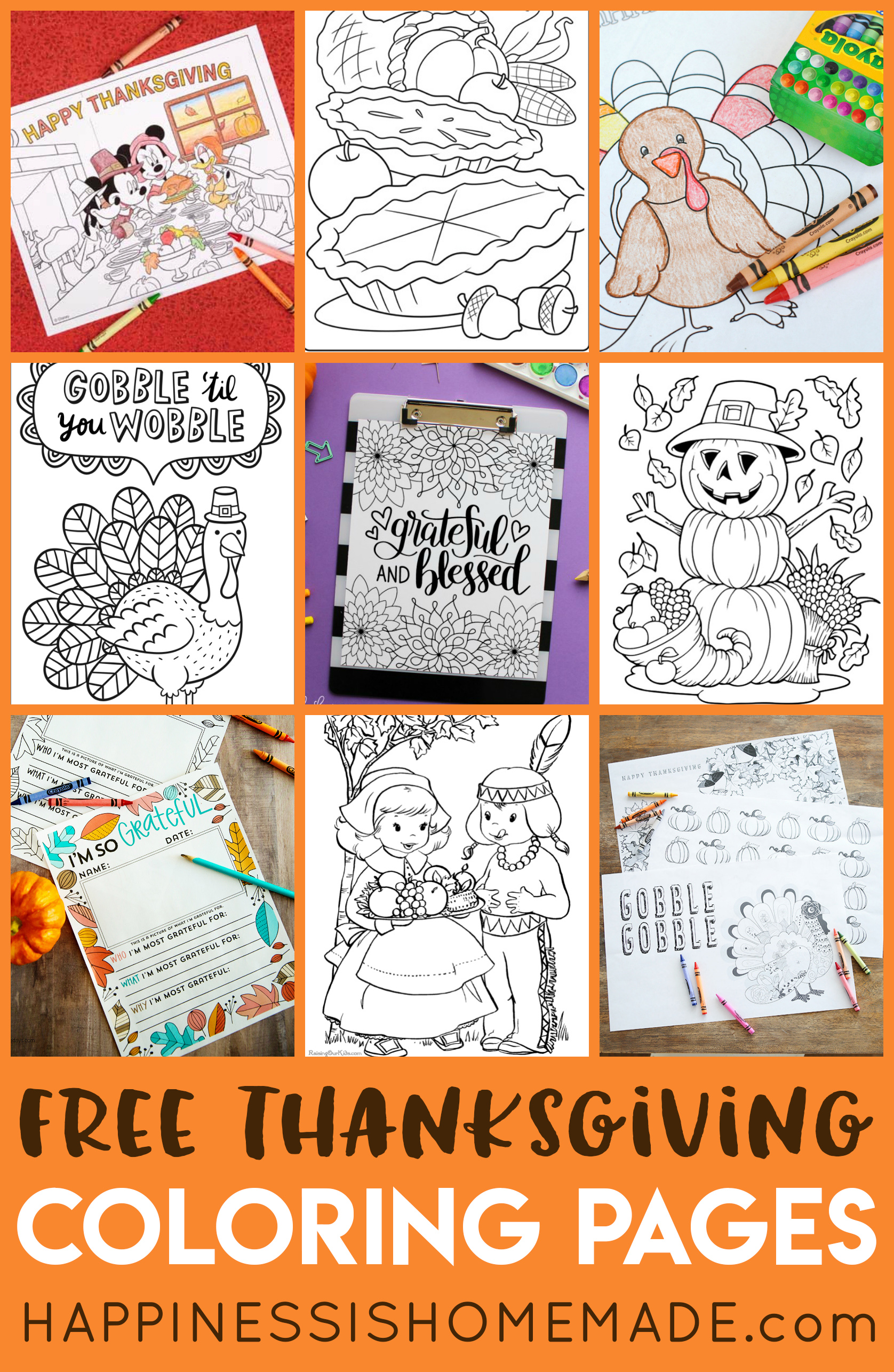 FREE Thanksgiving Coloring Pages For Adults & Kids - Happiness Is