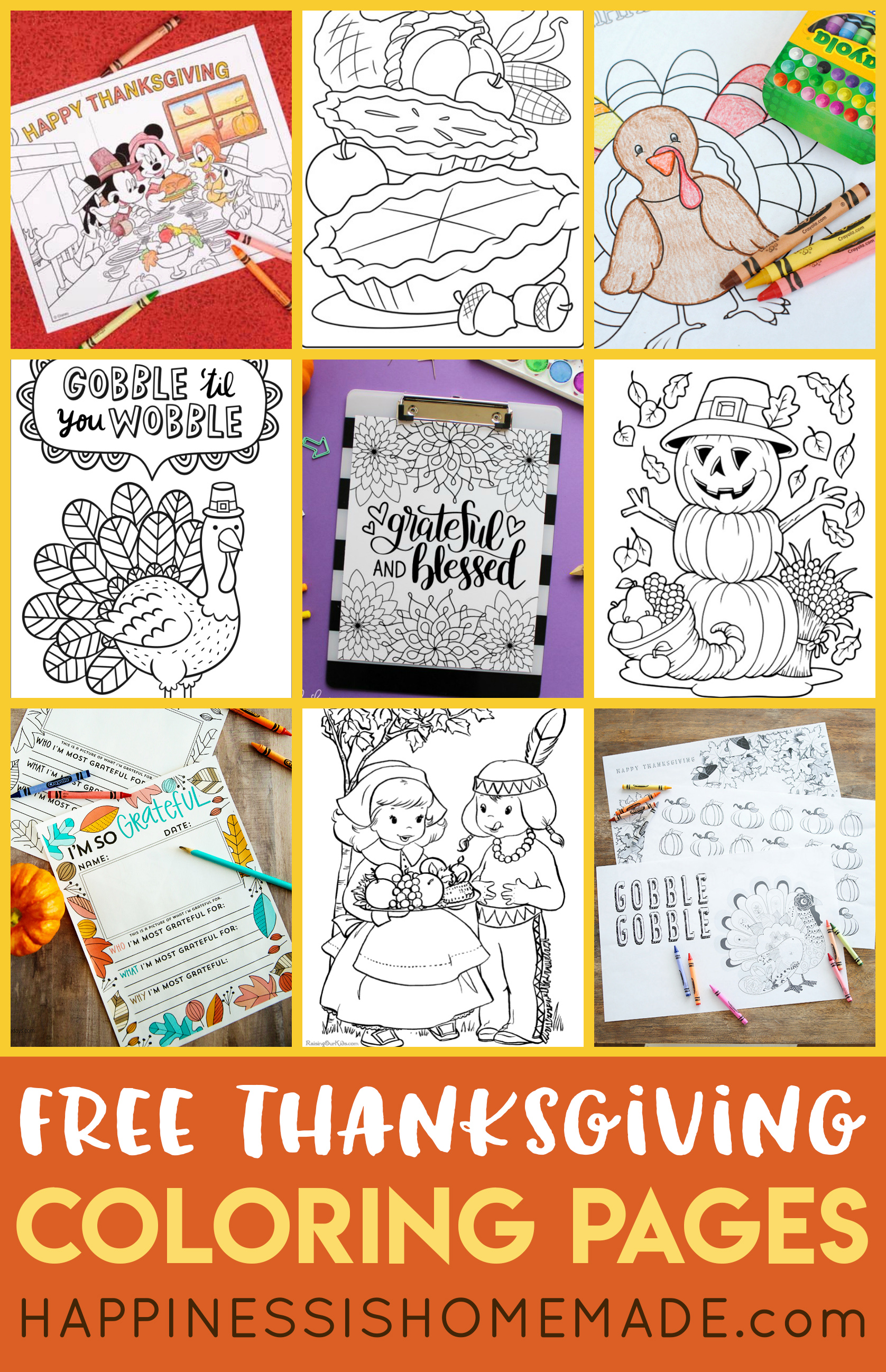 20+ FREE Printable Thanksgiving Coloring Pages for Adults & Kids – there's something for every skill level here! Thanksgiving Mickey Mouse, Charlie Brown, turkeys, pumpkins, cornucopias, and more! These printable Thanksgiving coloring sheets are sure to be a huge hit with all ages!