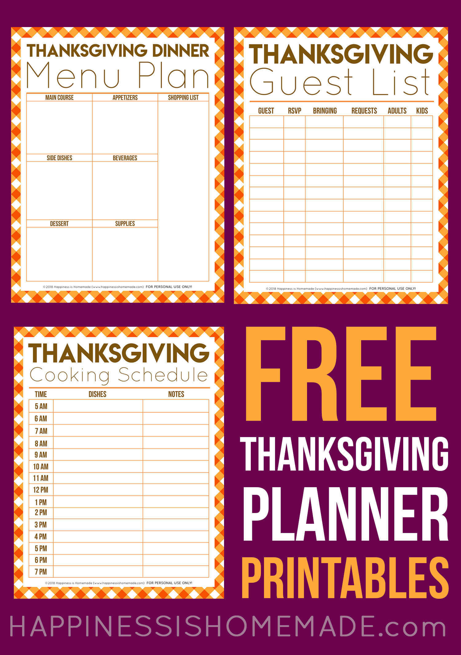 Free Thanksgiving Planner Printables - Our Thanksgiving Printable Planner Bundle includes a guest list, menu planner, and cooking schedule to help plan out your entire Thanksgiving meal! These printables make Thanksgiving planning easy peasy!
