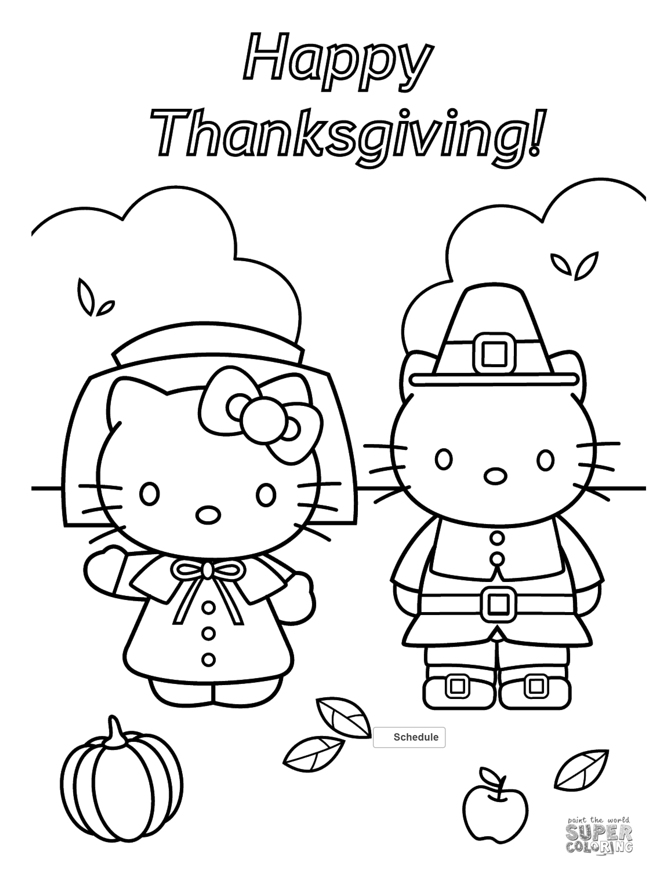 Super coloring shared this hello kitty thanksgiving coloring page thats sure to be a big hit with all the kitty fans