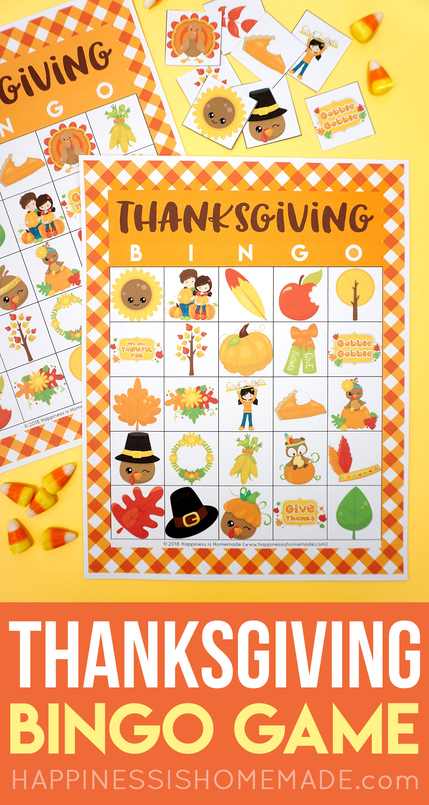 Printable Thanksgiving Bingo Cards - This Thanksgiving Bingo Game is a ton of fun for kids! Perfect for families, classrooms, Scouts, parties, and more!