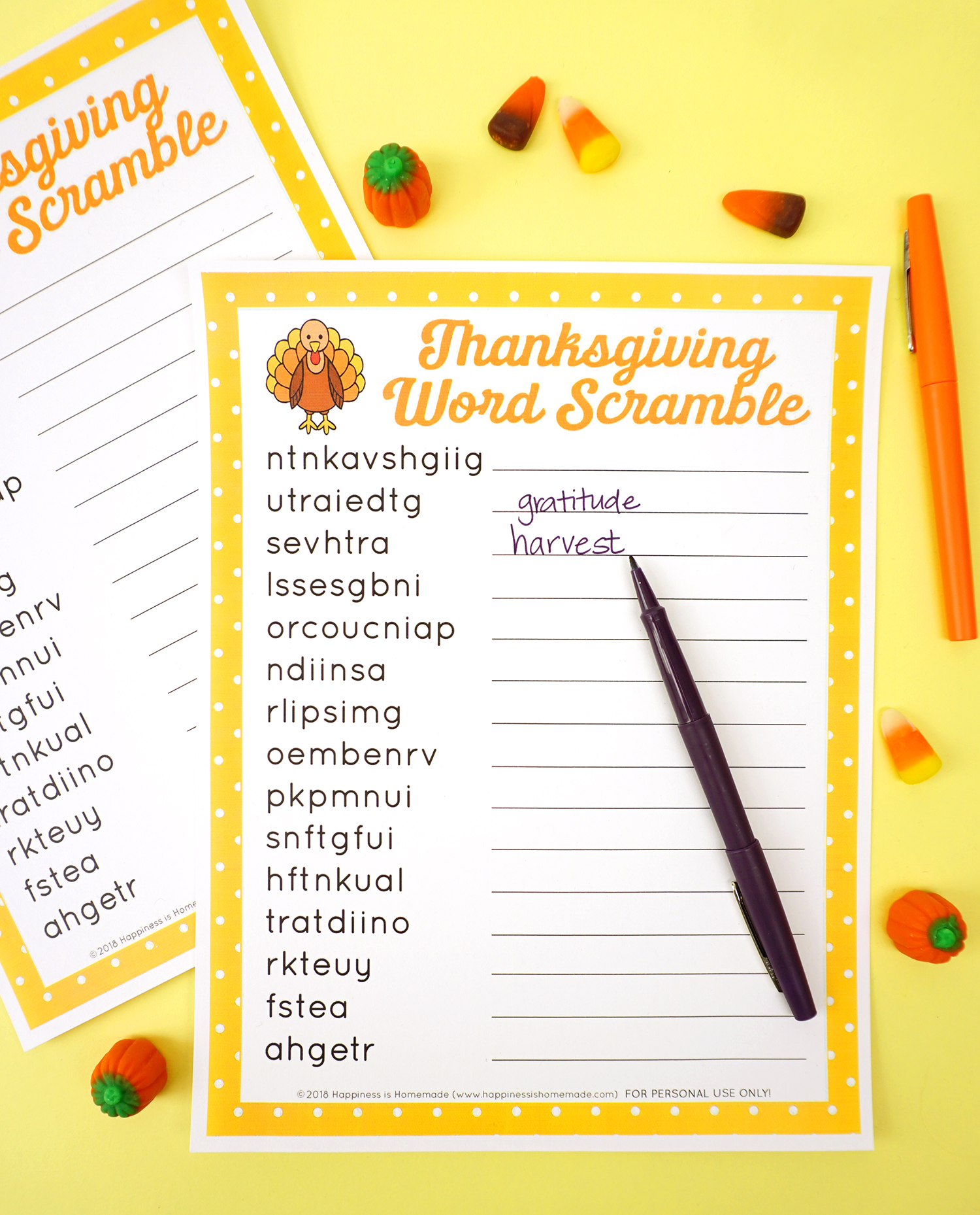 Thanksgiving Word Scramble Puzzle - Happiness is Homemade