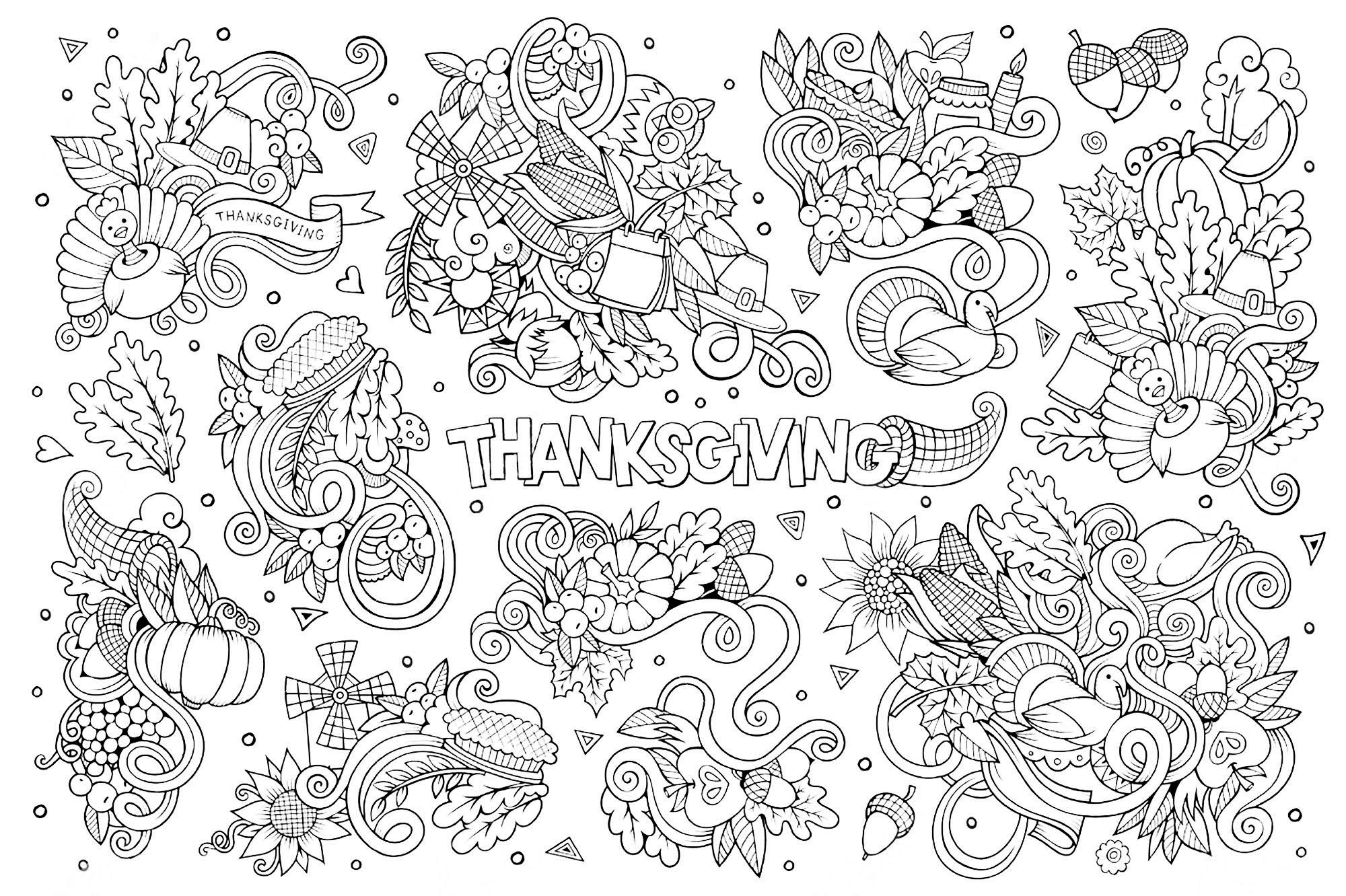 FREE Thanksgiving Coloring Pages for Adults Kids