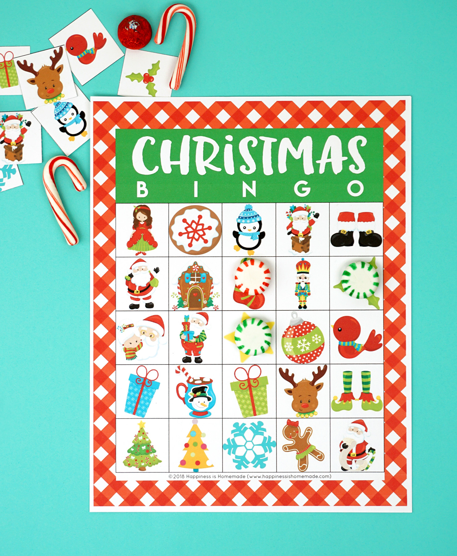 photograph about Christmas Bingo Printable called Printable Xmas Bingo Recreation - Contentment is Do-it-yourself