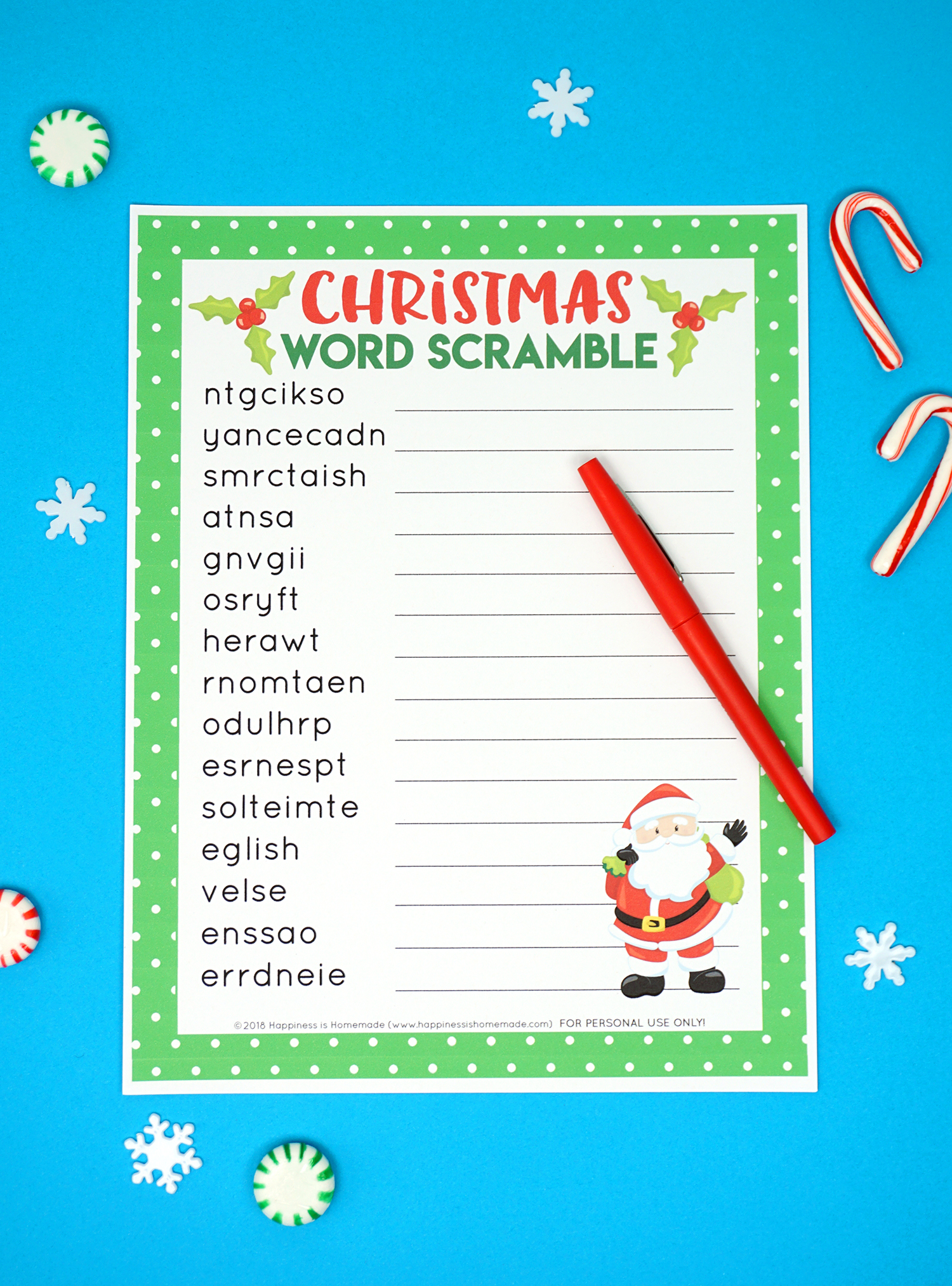 Exceptional image pertaining to christmas word scramble printable