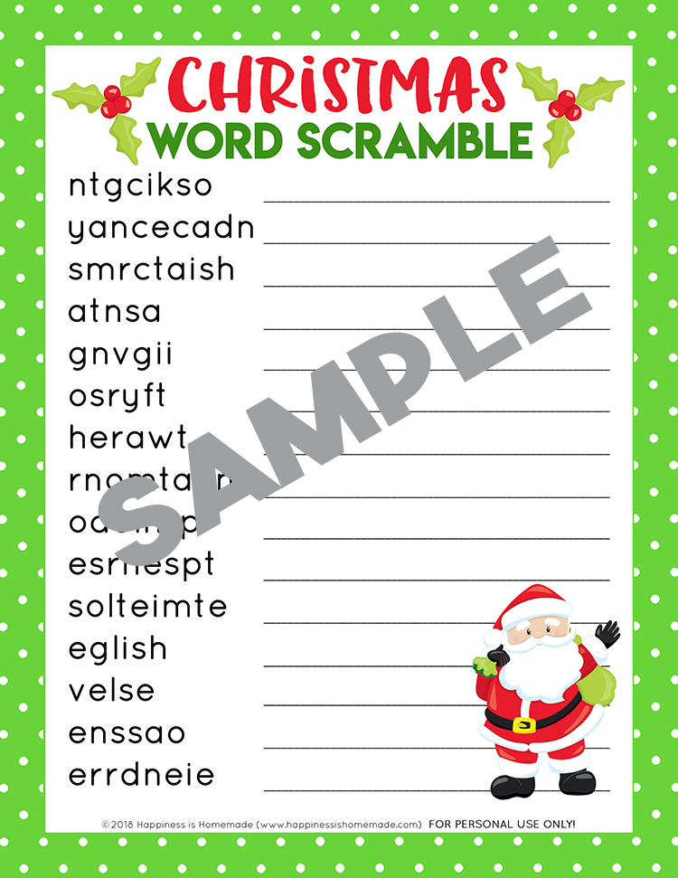 photograph relating to Holiday Word Scramble Printable named Xmas Phrase Scramble Printable - Pleasure is Handmade
