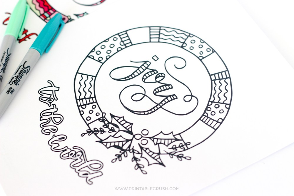 I love this pretty hand-drawn Joy to the World Coloring Page from Printable Crush!