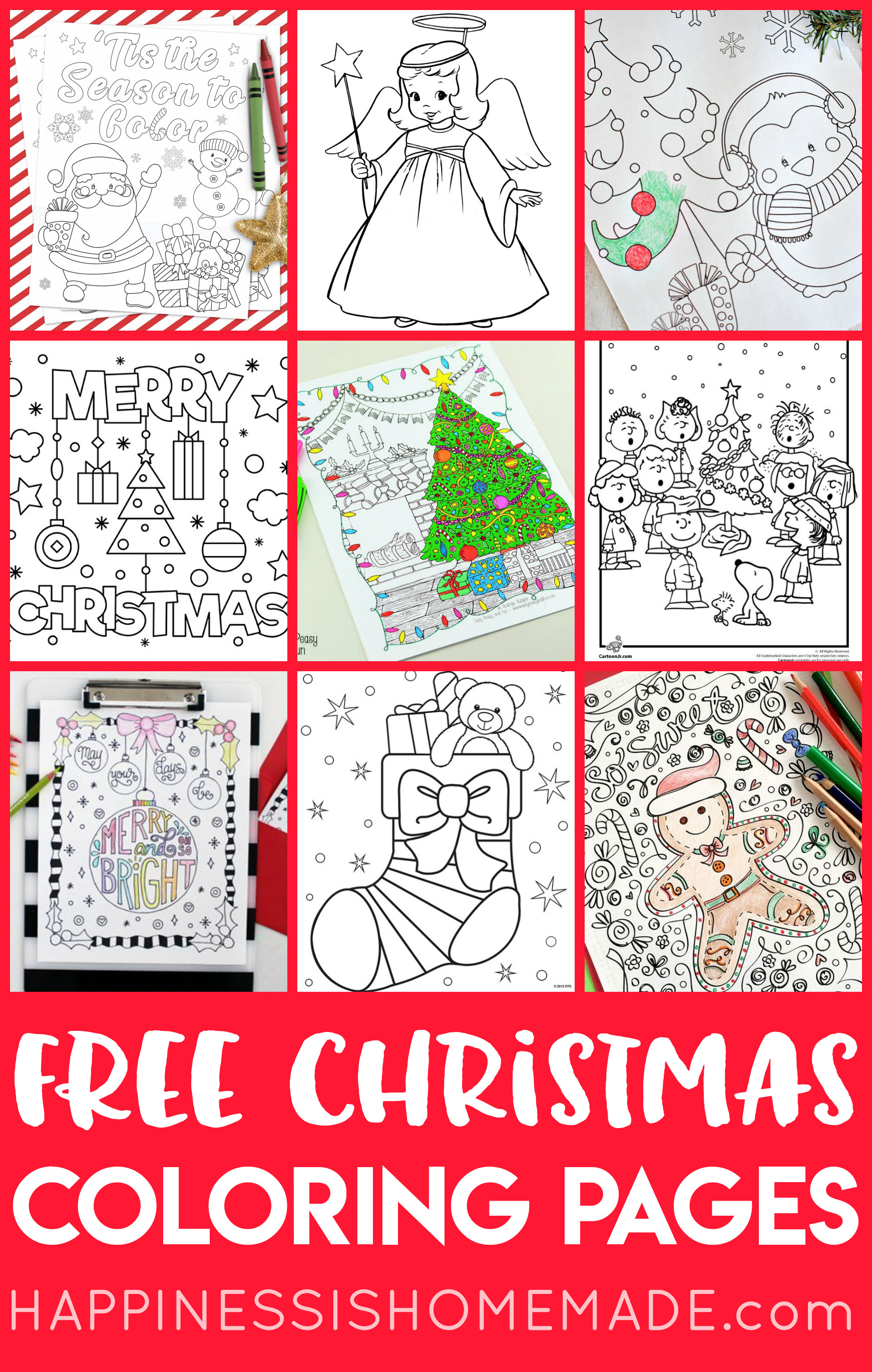 Free Christmas Coloring Pages For Adults And Kids Happiness Is