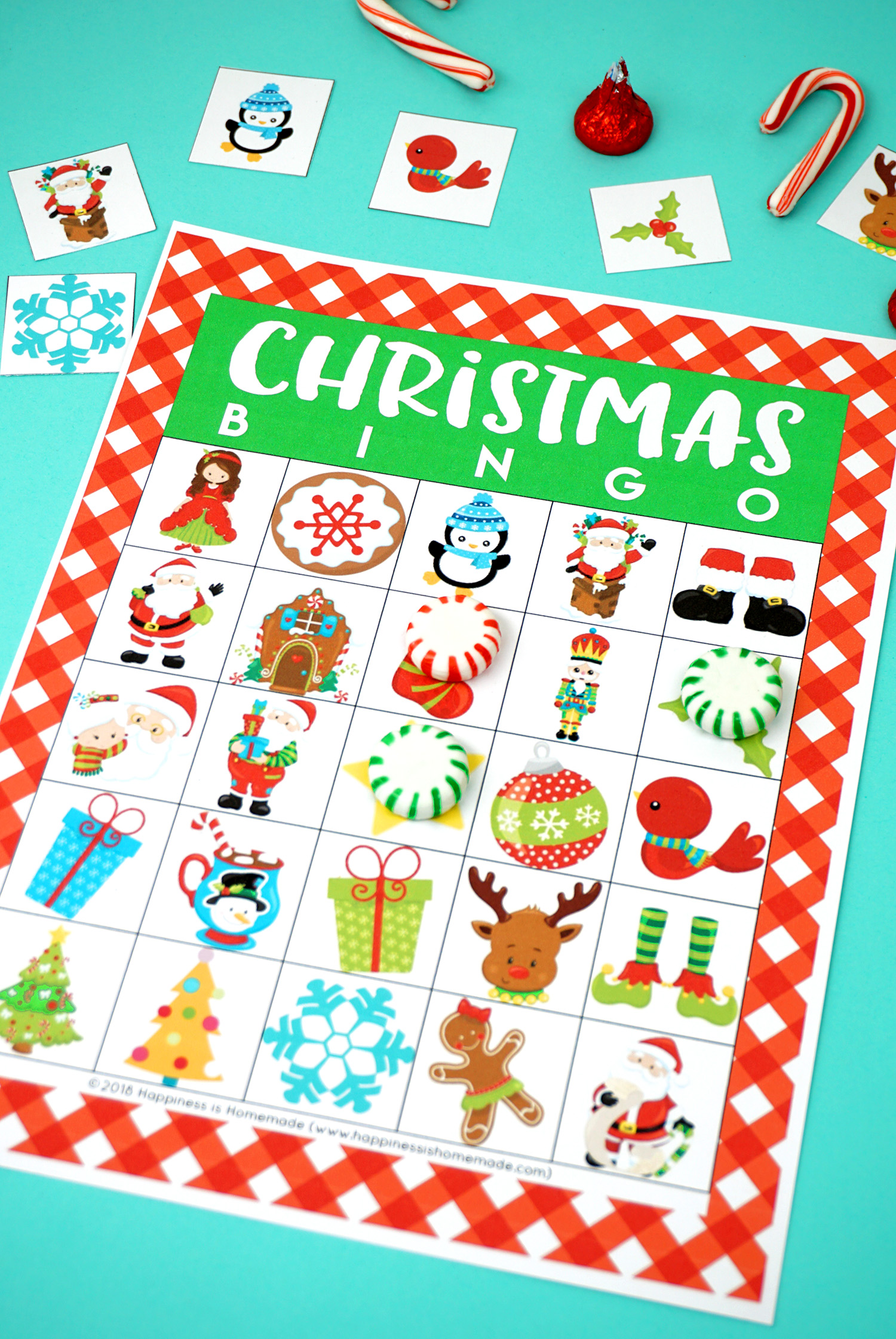 image about Christmas Bingo Card Printable known as Printable Xmas Bingo Recreation - Contentment is Handmade