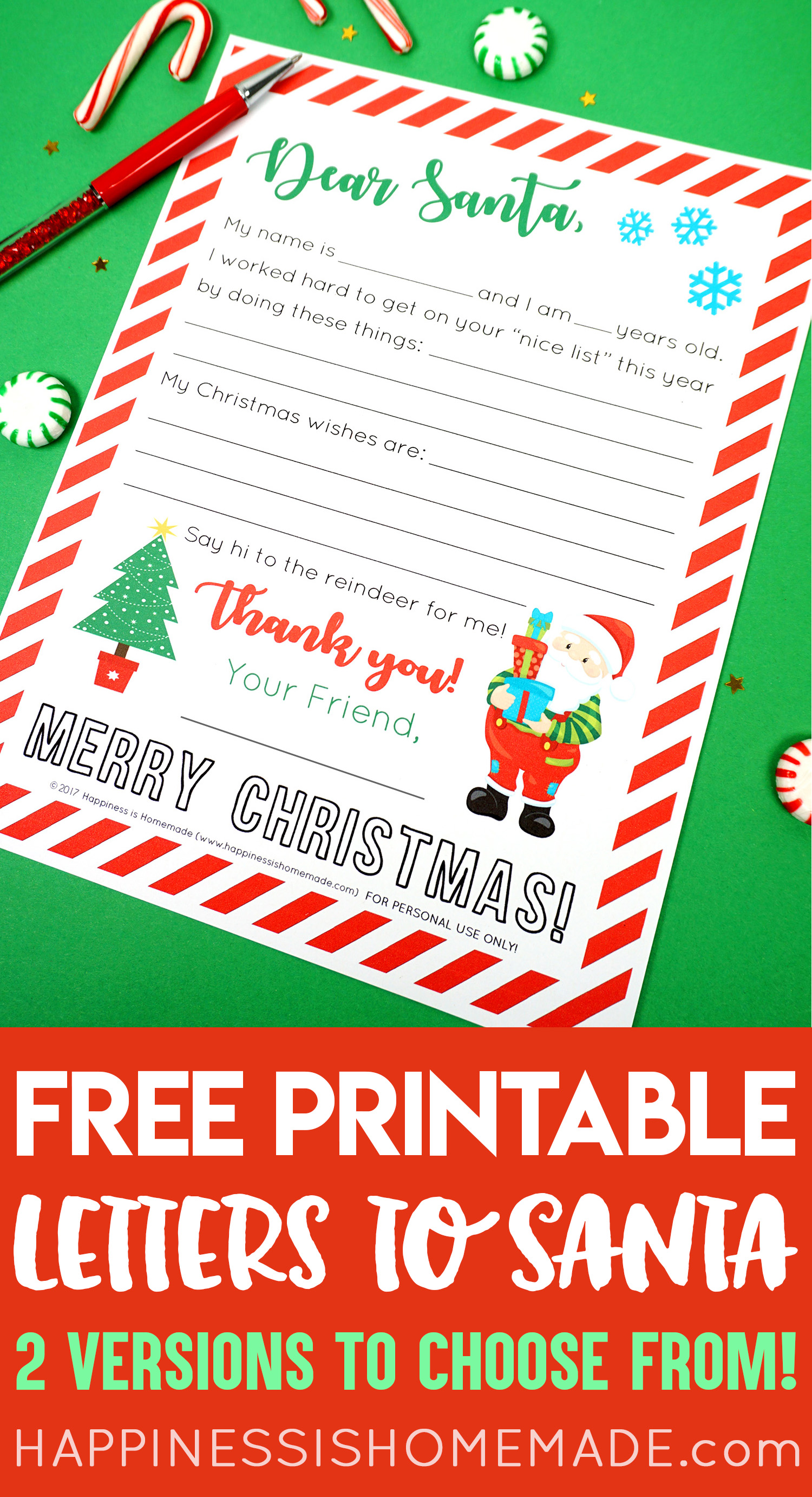 picture relating to Free Printable Letter From Santa Template known as Free of charge Printable Letter in direction of Santa - Joy is Home made