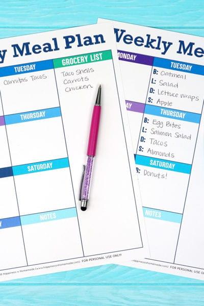 Free Printable Weekly Menu Planner Plan Guide
