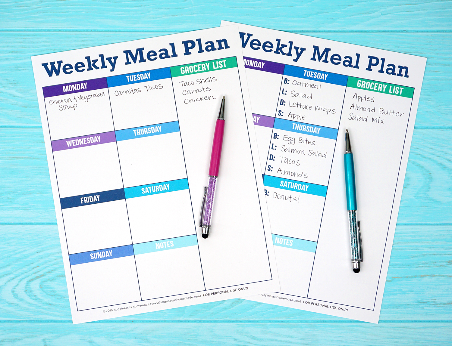 printable weekly meal planner template happiness is homemade
