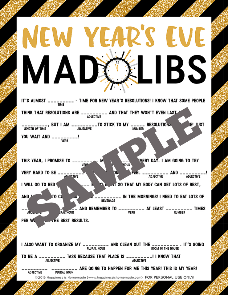 photo about Printable Funny Mad Libs named Refreshing Yrs Eve Outrageous Libs Printable - Contentment is Home made