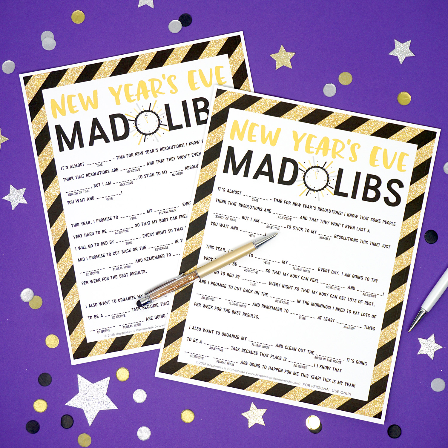 new years eve mad libs printable