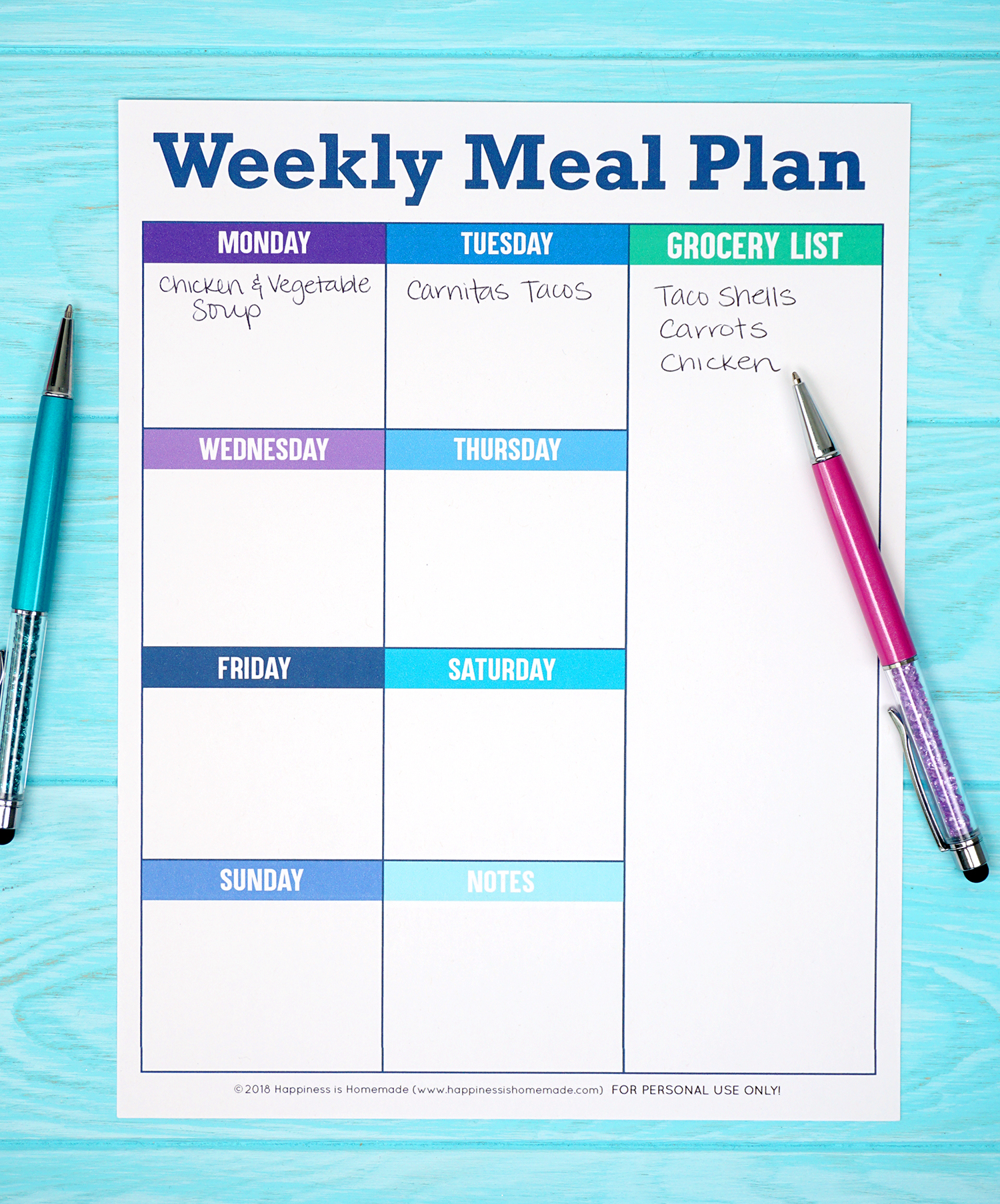 picture relating to Free Printable Weekly Meal Planner named Printable Weekly Evening meal Planner Template - Joy is Do-it-yourself