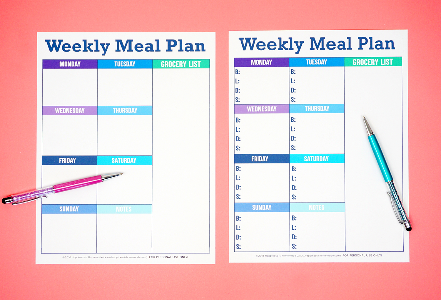 This is an image of Eloquent Printable Weekly Menu