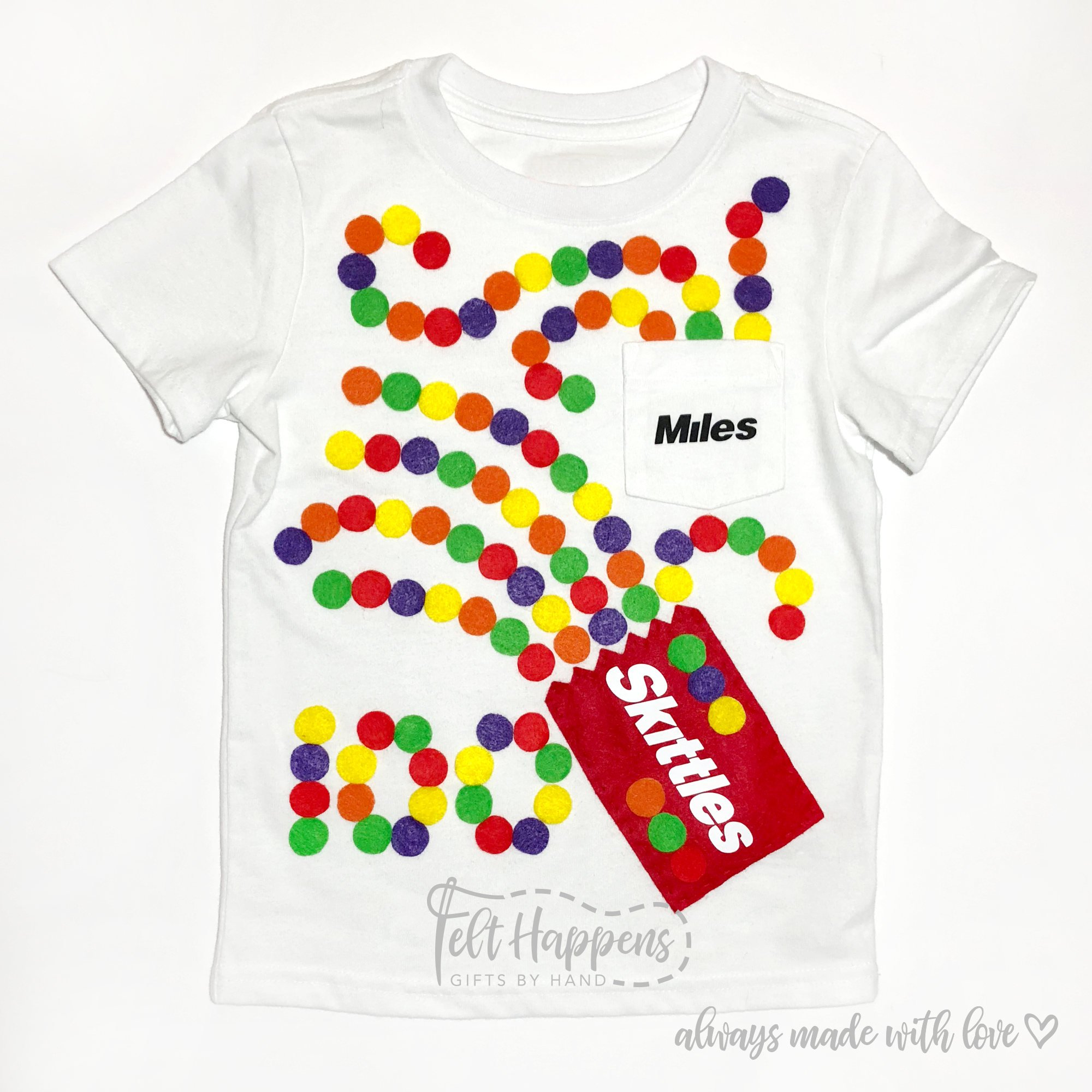 Felt Happens made this sweet Skittles 100 Days of School Shirt – pick up  one in her Etsy shop or be inspired to create your own version! ce0d8301b2a