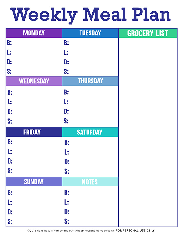 It's just an image of Unusual Free Printable Meal Plan Template