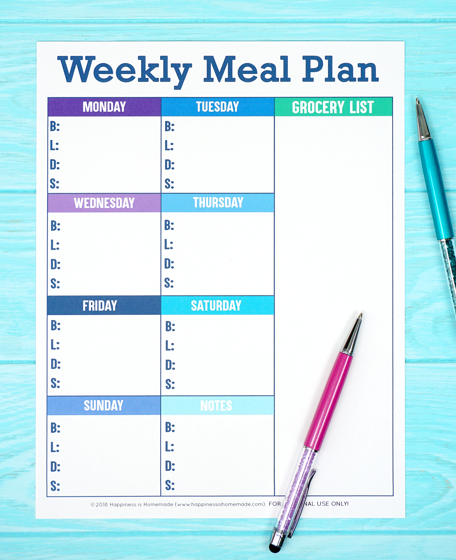 image about Weekly Menu Planner Printable referred to as Printable Weekly Supper Planner Template - Joy is Do-it-yourself