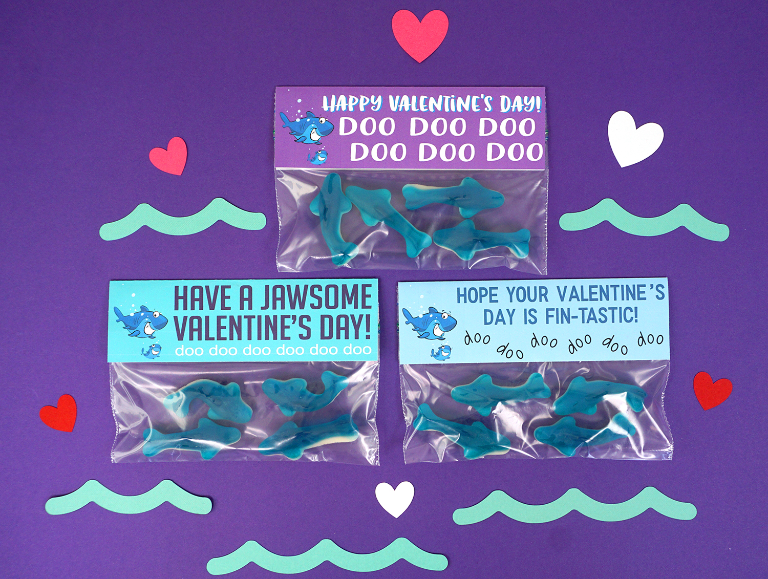 Printable Baby Shark Valentines Cards