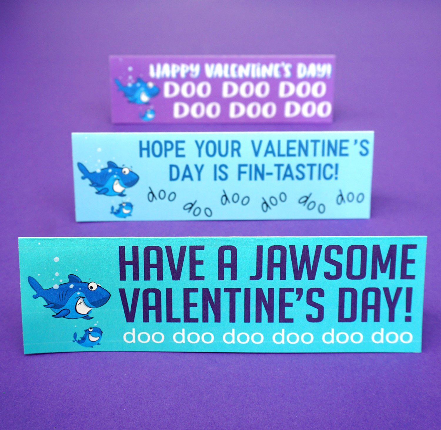 Baby Shark Valentines Cards - Folded on Purple Background