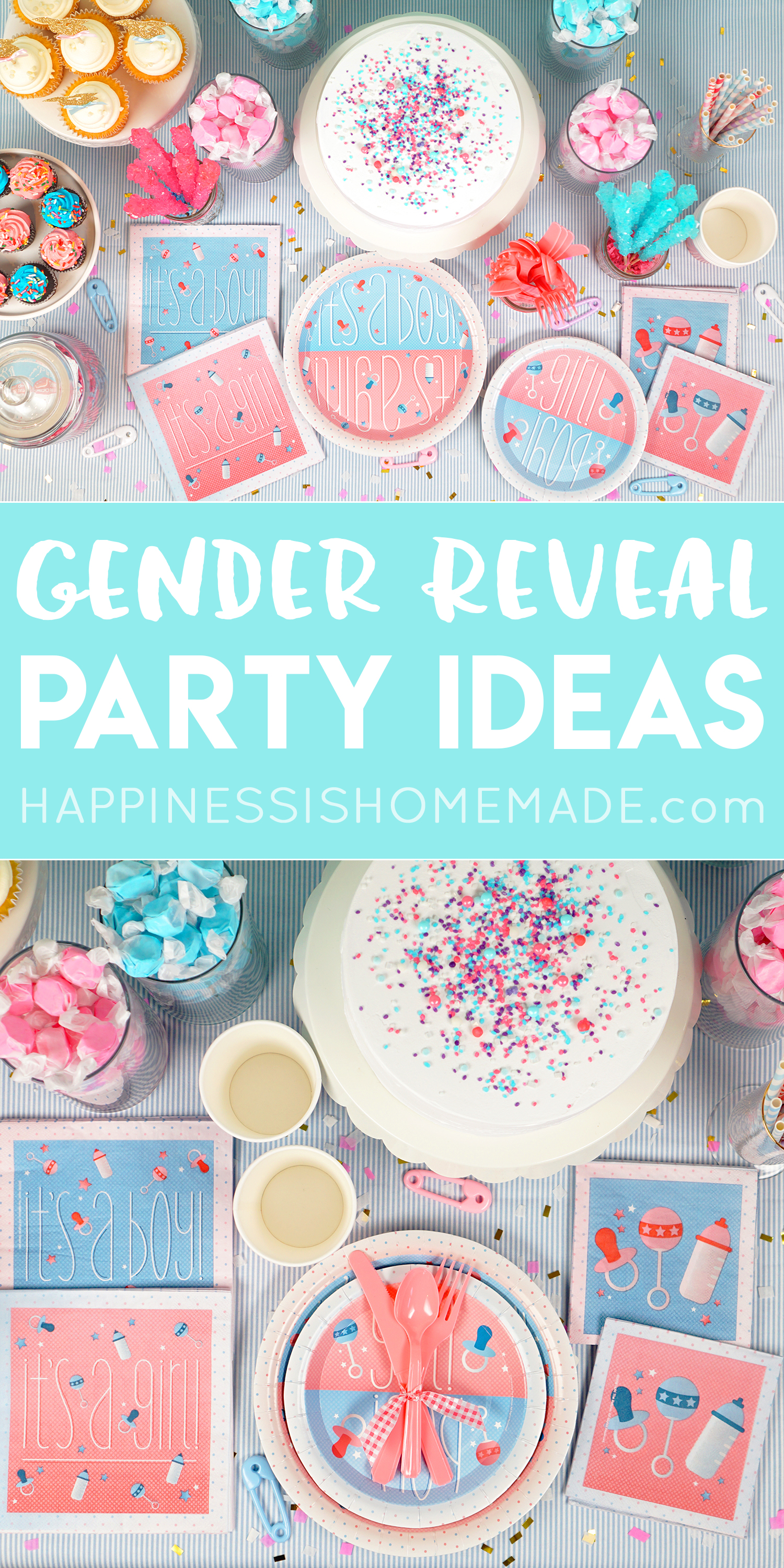 Christmas Gender Reveal Theme.Gender Reveal Party Ideas Happiness Is Homemade