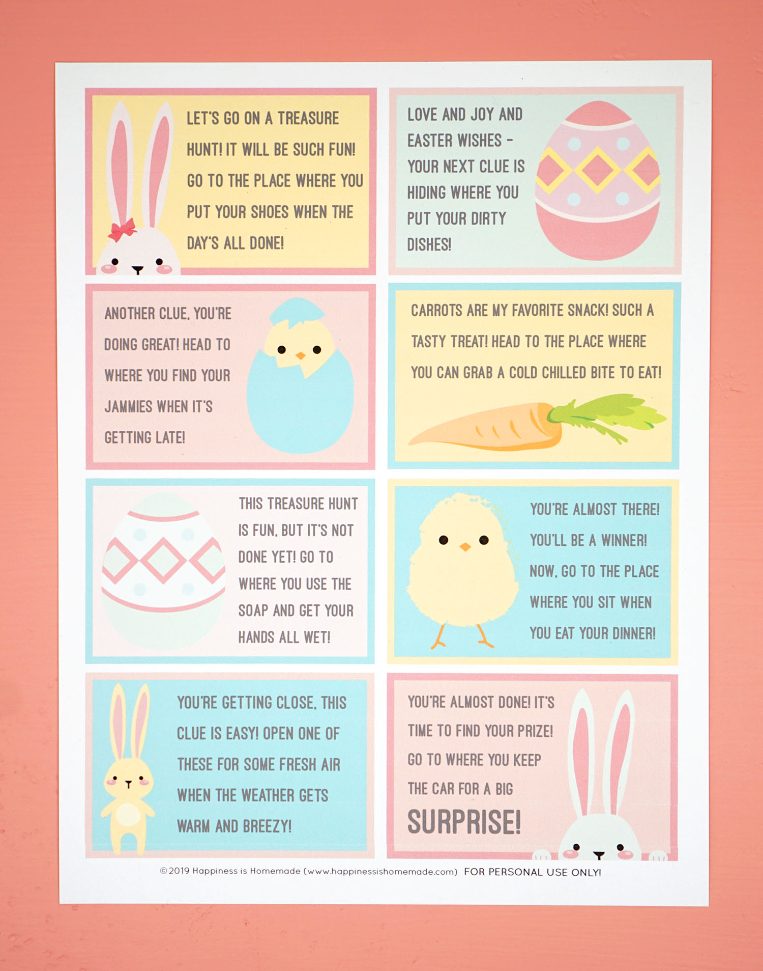 picture regarding Clue Cards Printable identified as Easter Scavenger Hunt - No cost Printable! - Joy is Home made