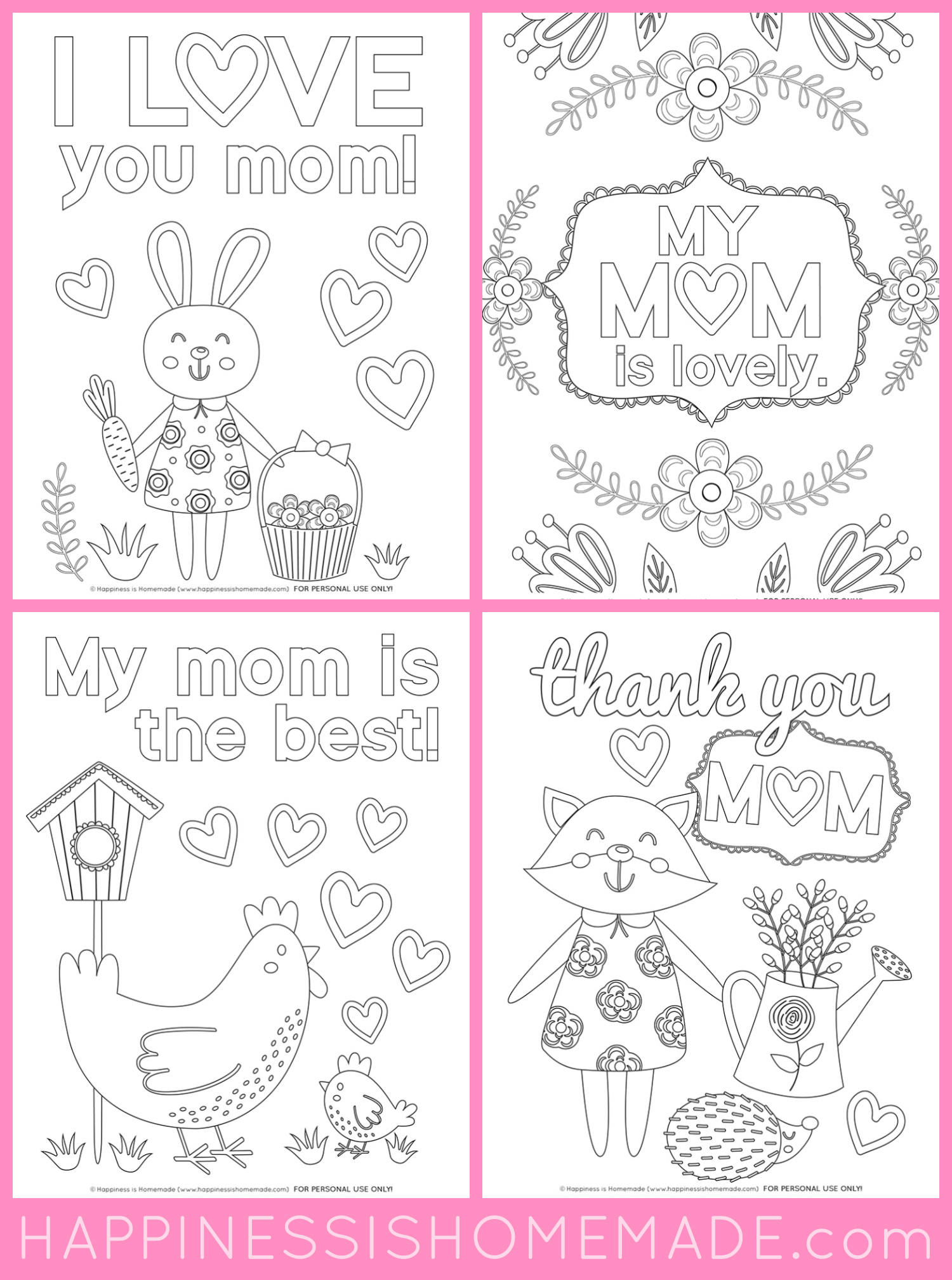 Mothers day coloring pages free printables happiness is homemade