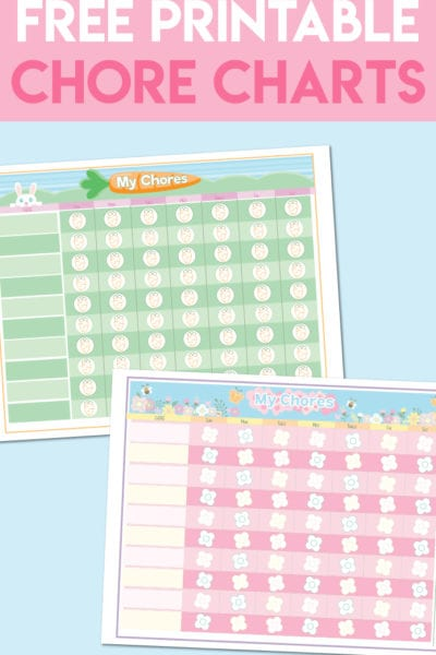 Free Printable Chore Charts for Kids by Happiness is Homemade