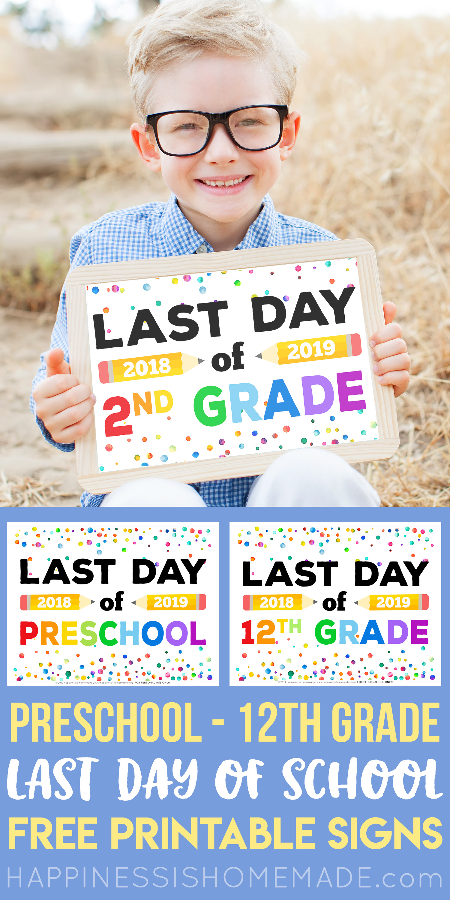 photograph regarding Last Day of Preschool Sign Printable referred to as Past Working day of College or university Signs or symptoms - Free of charge Printable - Pleasure is