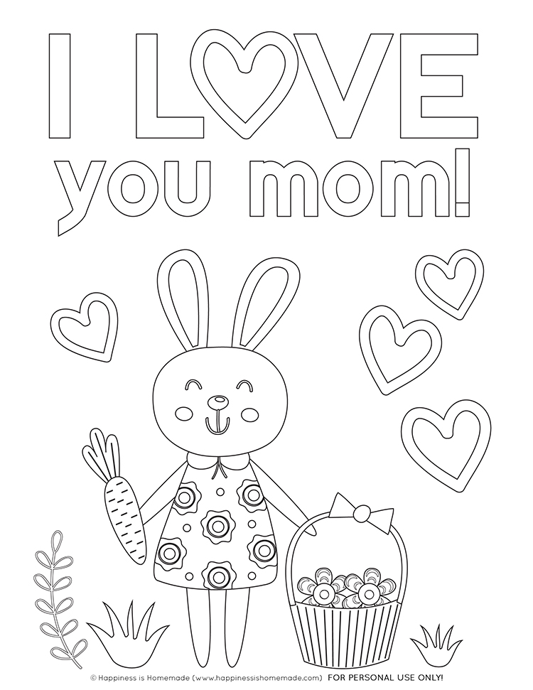 Cute Bunny Mother's Day Coloring Sheet