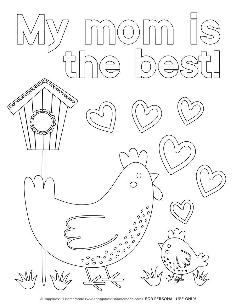 """My Mom is the Best!"" Mother's Day Coloring Page with Chickens"