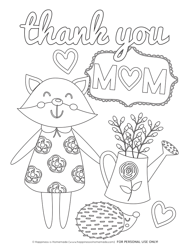 """Thank You Mom"" Mother's Day Coloring Page"