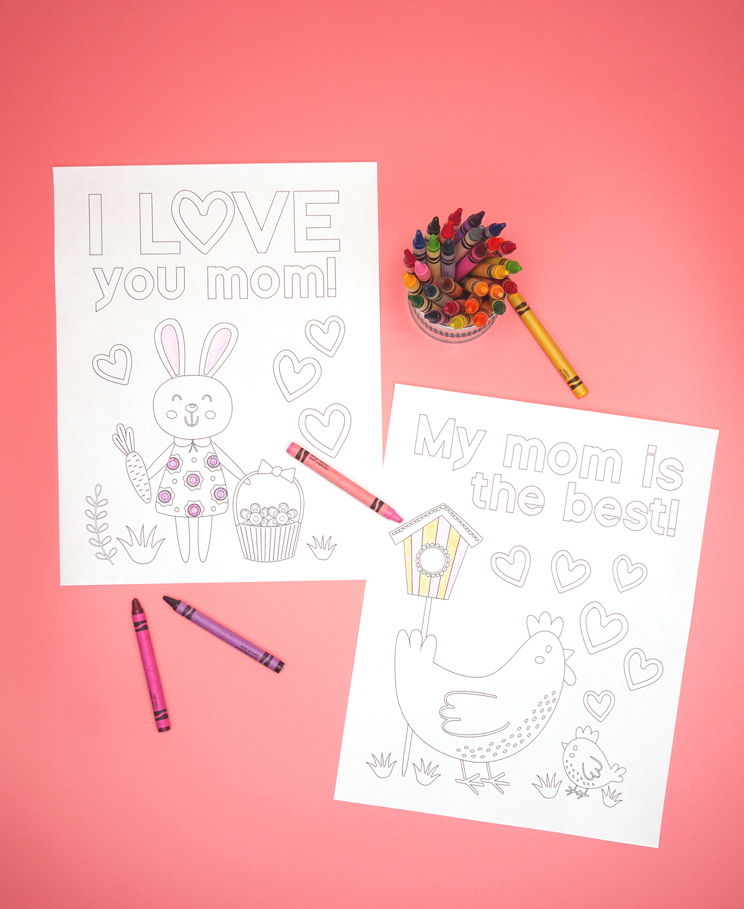 Cute Mother's Day Coloring Pages and Crayons