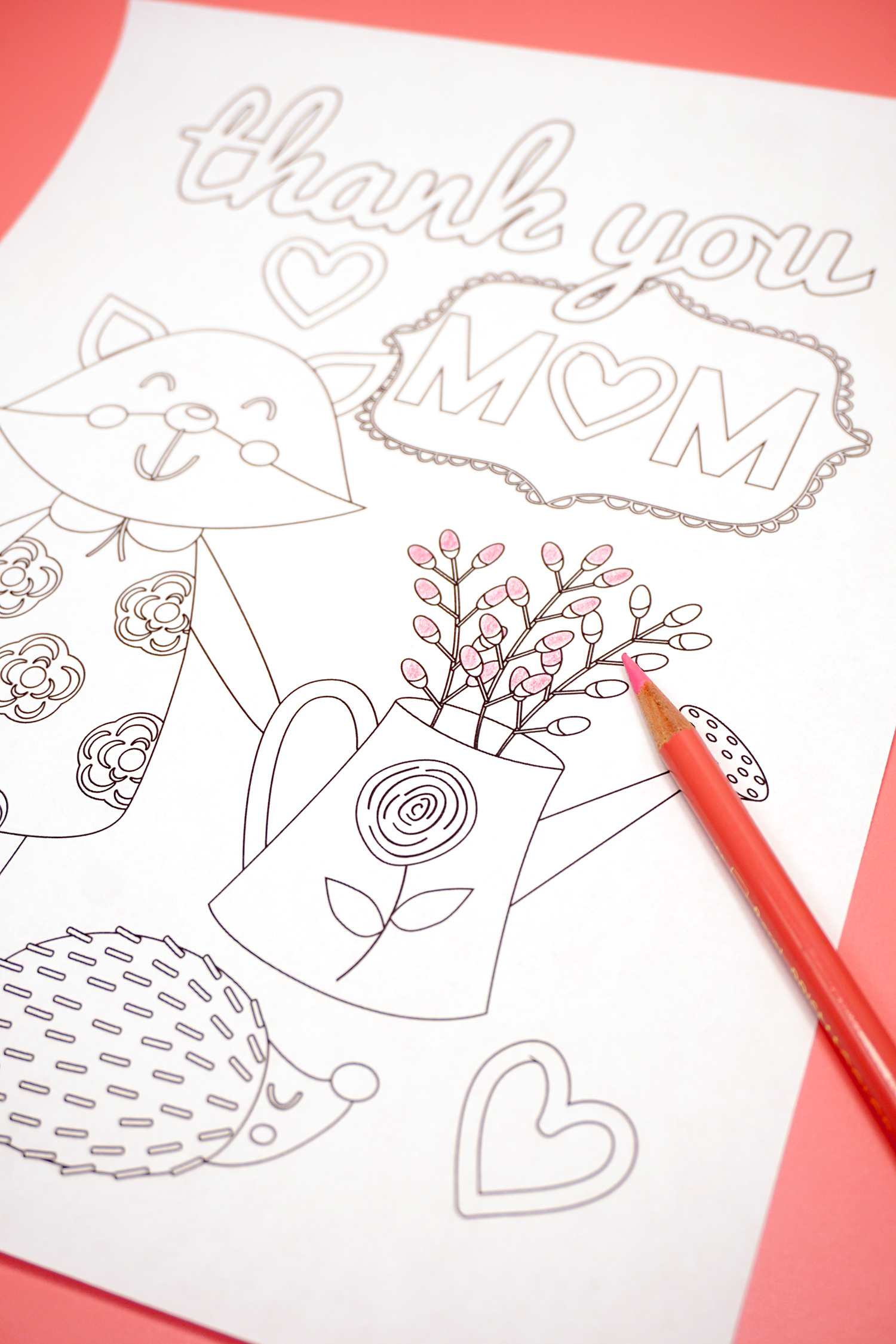 Mother's Day Coloring Page with Watering Can Flowers