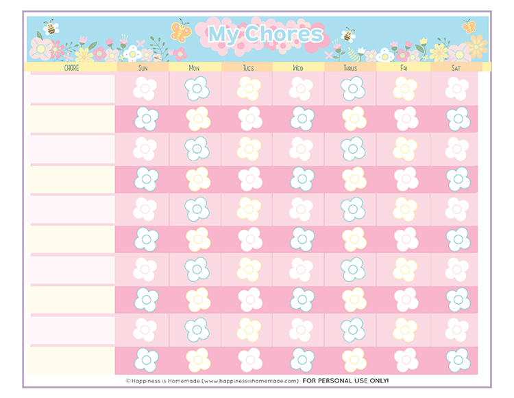 picture relating to Printable Chore Chart for 4 Year Old referred to as Free of charge Printable Chore Chart for Little ones - Contentment is Handmade