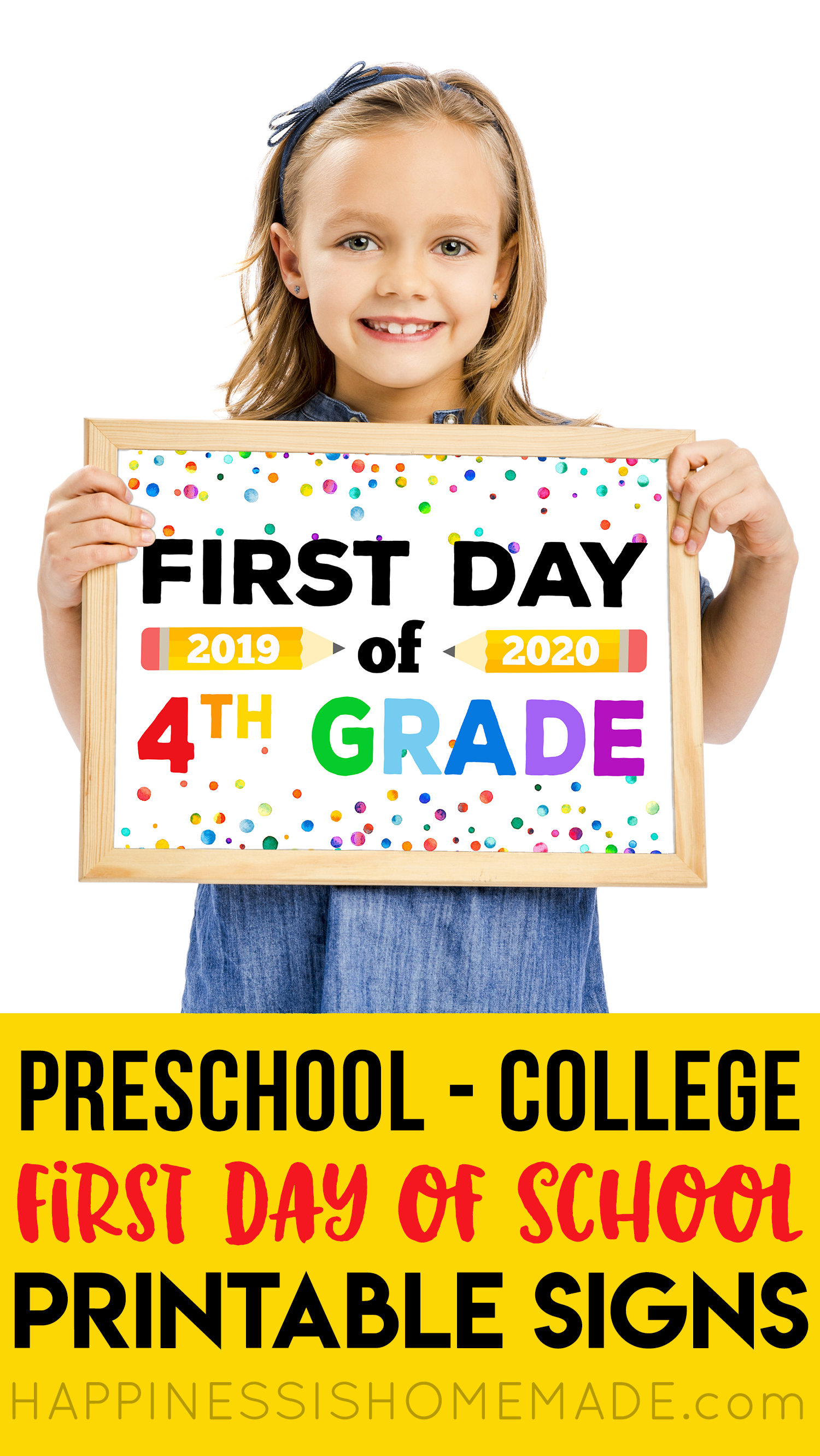 photo relating to Last Day of Preschool Sign Printable identified as No cost Printable Initially Working day of Higher education Symptoms - Pleasure is Do-it-yourself
