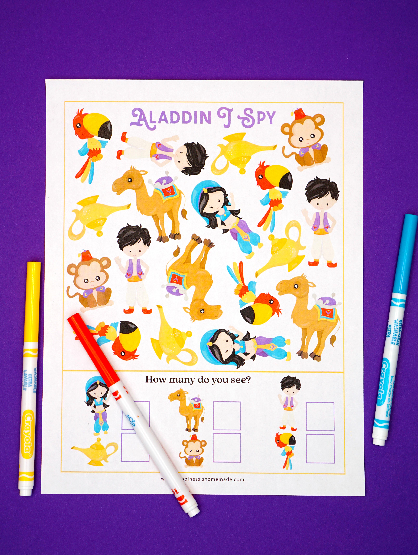 Aladdin Printable I Spy Game