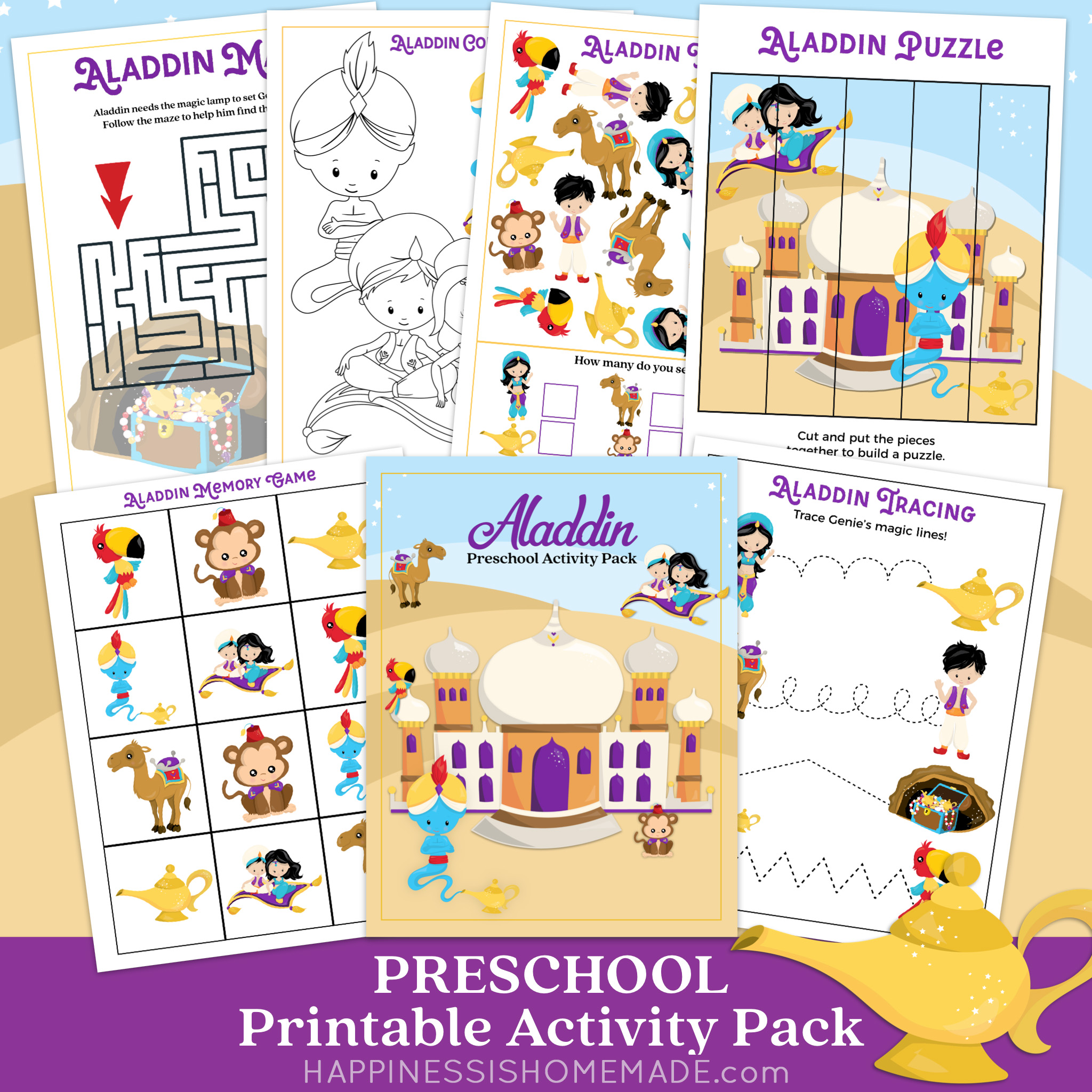Six Aladdin themed printable preschool worksheets