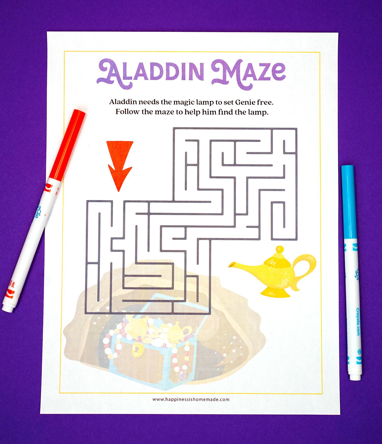 Free Printable Aladdin Maze Printable Preschool Worksheet