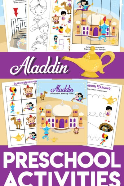 Free Aladdin-themed printable preschool worksheets for your little ones - coloring page, maze, I Spy, puzzle, memory game, and more! They'll love these fun Aladdin preschool printables!