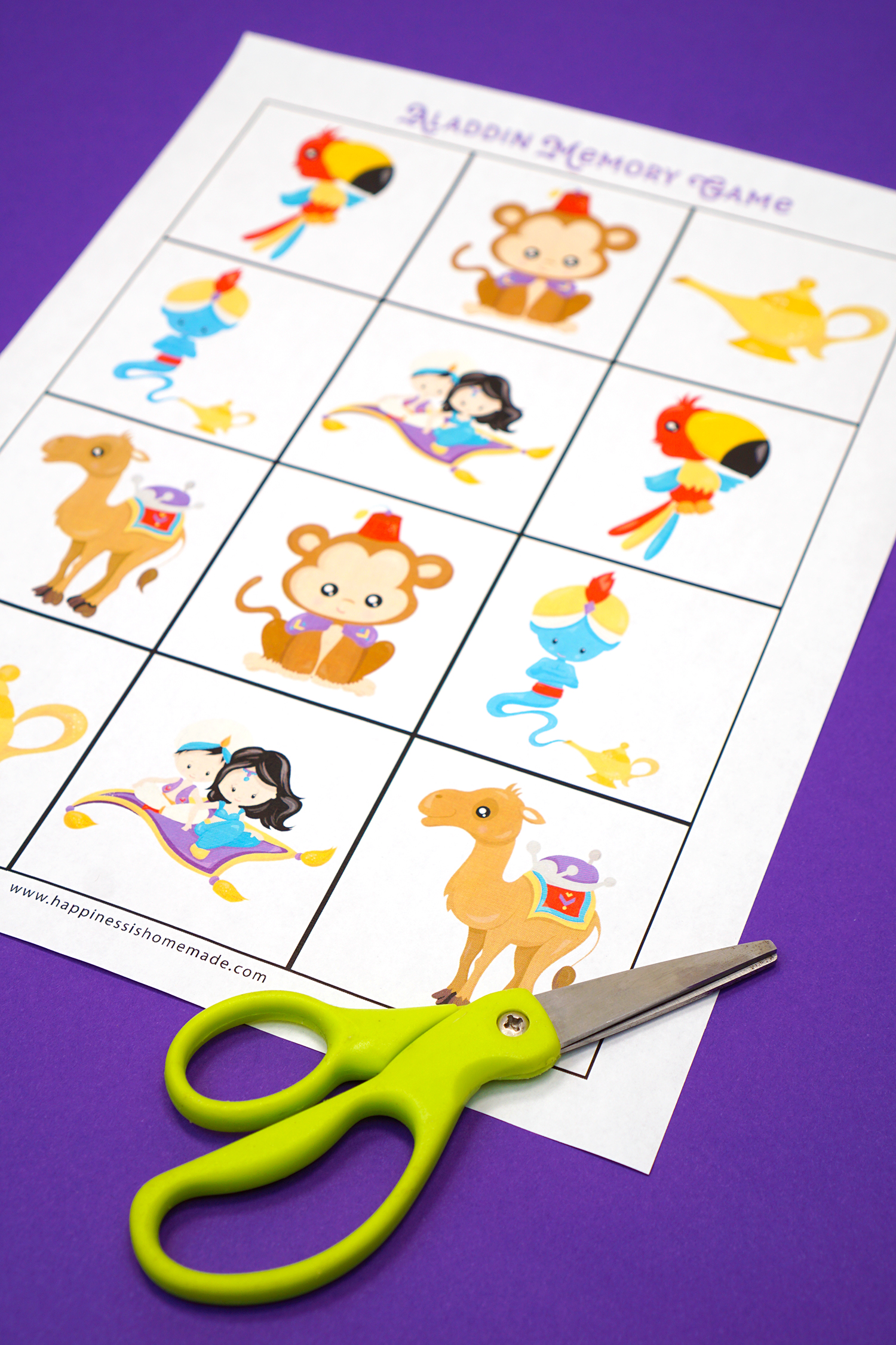 Aladdin Memory Game Preschool Printables