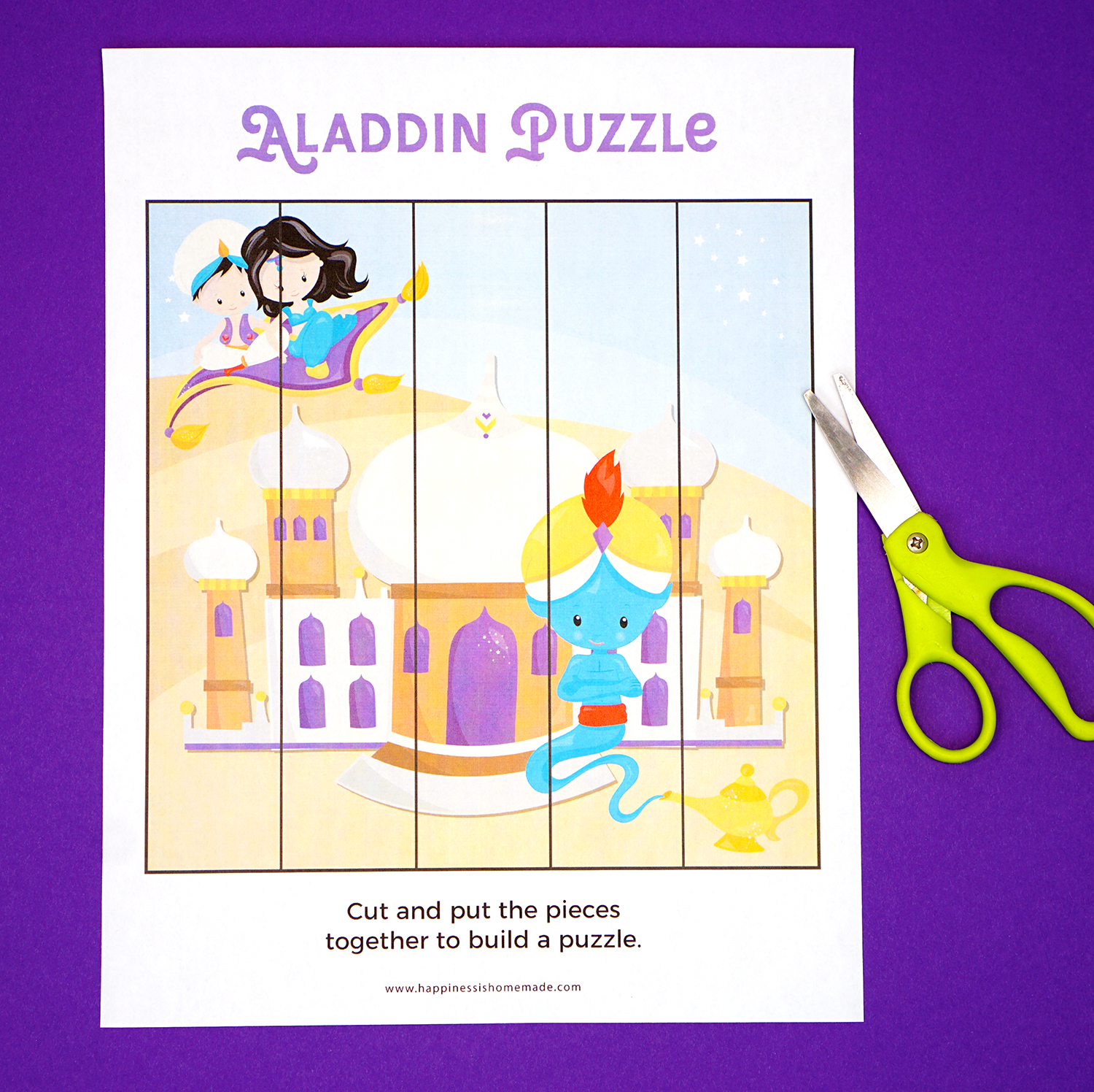 Printable Aladdin Puzzle Game for Preschoolers