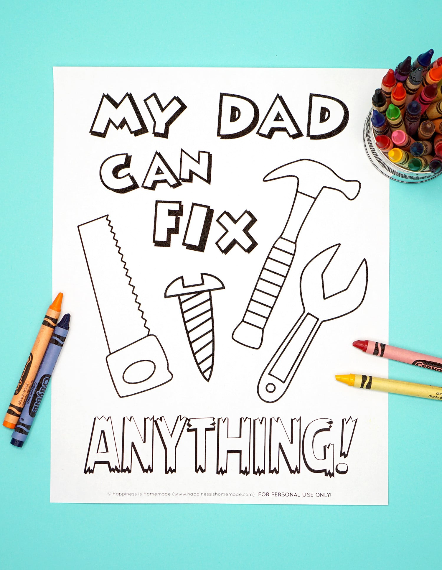 Free Printable Father's Day Coloring Page with Tools