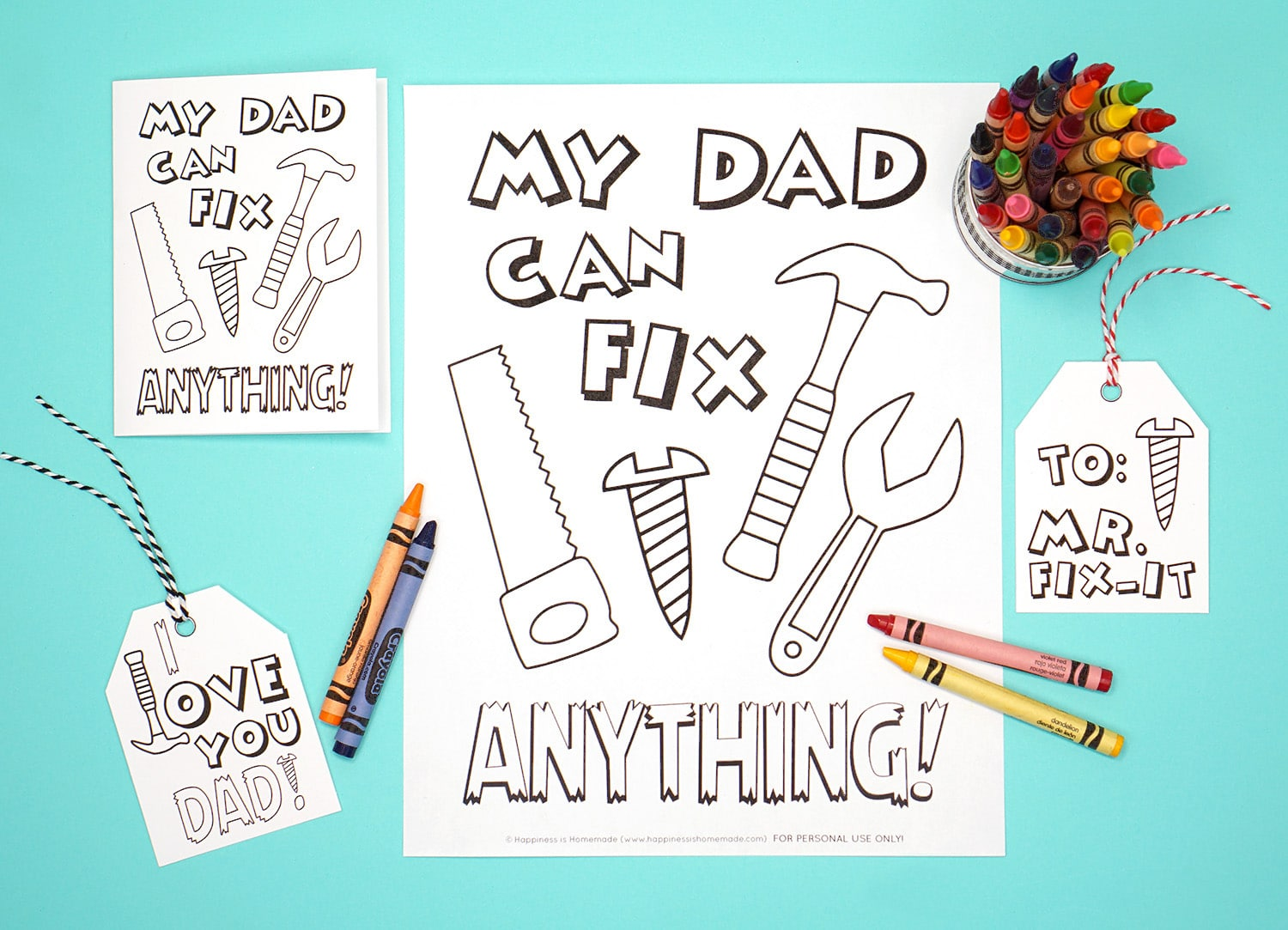 image relating to Printable Fathers Day Card called Printable Fathers Working day Card + Coloring Web page - Joy is