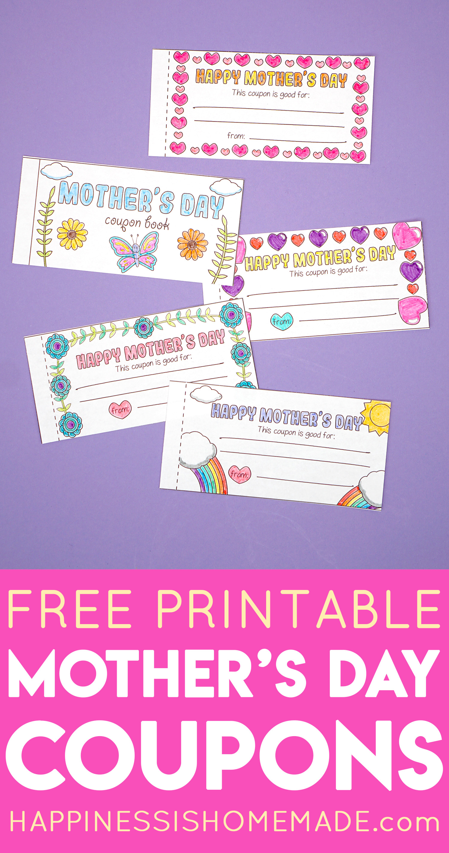 photograph about Printable Coupons for Kids named No cost Printable Moms Working day Discount coupons - Joy is Do-it-yourself