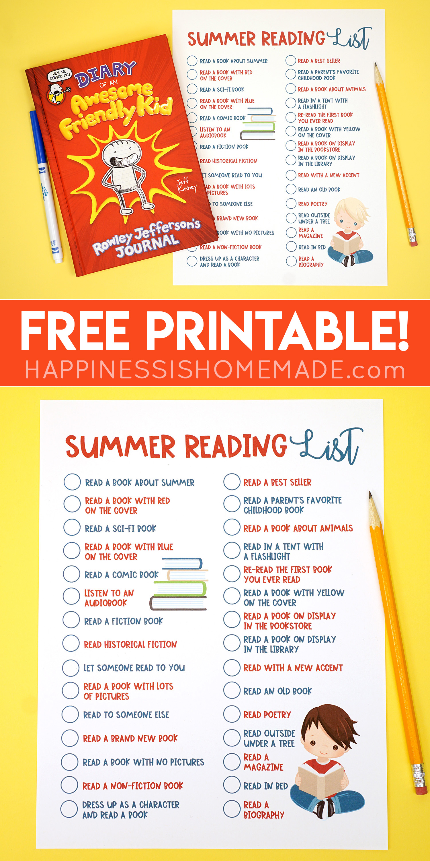 image relating to Who Was Book Series Printable List called Printable Summer months Reading through Dilemma Record for Young children - Contentment